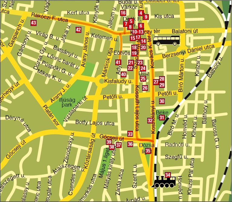 Zalaegerszeg belváros térkép