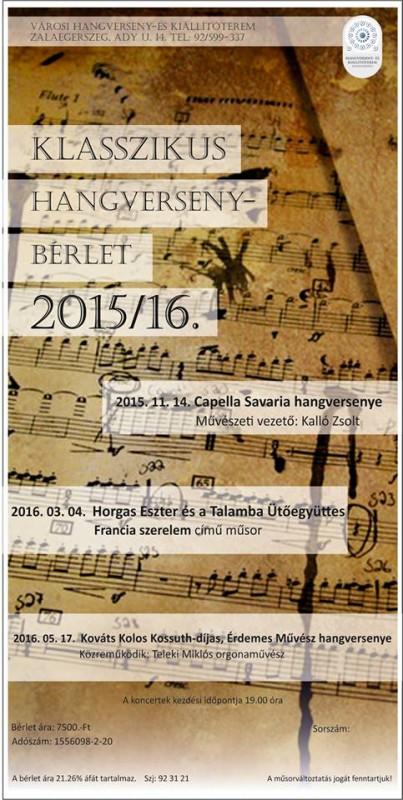 Klasszikus Hangverseny-bérlet 2015/16 - Kováts Kolos Kossuth-díjas, Érdemes Művész hangversenye