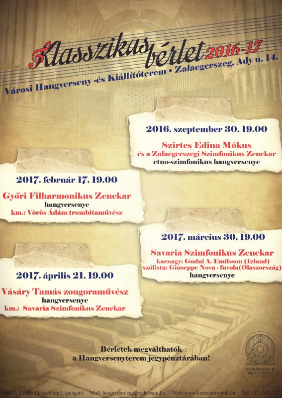 Klasszikus bérlet 2016/17 - Vásáry Tamás a Nemzet Művésze, Kossuth-díjas zongoraművész hangversenye
