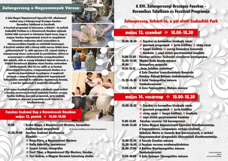 XIV. Zalaegerszegi Országos Fazekas-Keramikus Találkozó és Fesztivál