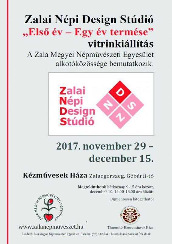 """Vitrinkiállítás: Zalai Népi Design Stúdió: """"Első év - Egy év termése"""