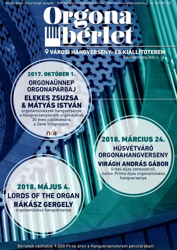 ORGONABÉRLET 2017/2018 - Virágh András Gábor Erkel-díjas zeneszerző, orgonaművész húsvétváró hangversenye