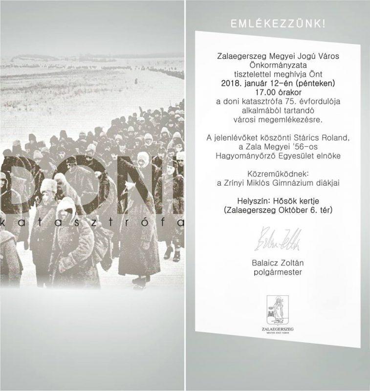 Városi megemlékezés a doni katasztrófa 75. évfordulója alkalmából